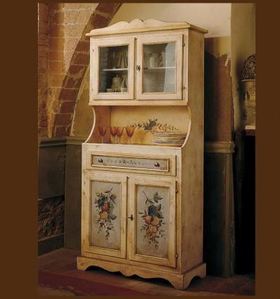 Vitrina Anabel din lemn masiv, sticla si pictura manuala