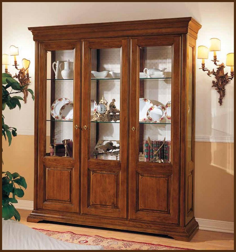 Vitrina clasica carla lemn masiv mobila la comanda lemn - Vitrinas para salon comedor ...
