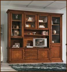 Biblioteca clasica Bambi din lemn masiv si sticla